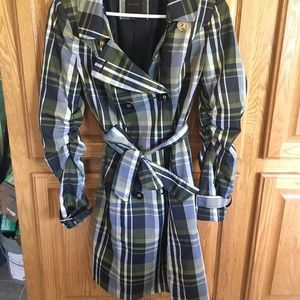 The Limited Yellow and Black Plaid Trench Coat